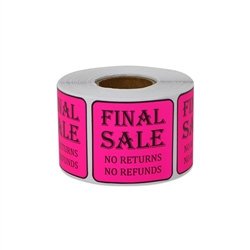 "1.5"" x 1.5"" Final Sale No Returns / No Refunds Stickers Labels"