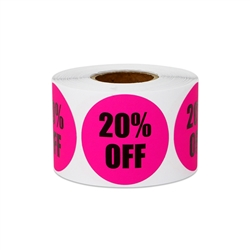 "1.5"" Round 20% OFF Retail Stickers Labels"