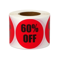 "1.5"" Round 60% OFF Retail Stickers Labels"