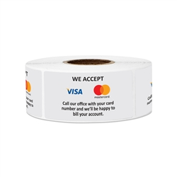 "2"" x 1"" We Accept Visa & Mastercard Stickers Labels"