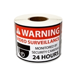 3 x 2 inch Video Surveillance Stickers - Warning Labels
