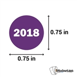 "0.75"" Year 2018 Stickers Labels"