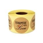 "1.5""  Handmade with Love Stickers Labels"