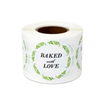 "1.5"" Round Baked with Love Stickers Labels"