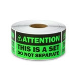 "1.5"" x 3"" Attention - This is a Set, Do Not Separate Stickers Labels (Green)"