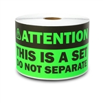 "3"" x 6"" Attention - This is a Set, Do Not Separate Stickers (Green)"