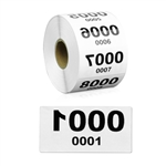 2 x 1 inch Reverse Numbered 0001-1000 Consecutive Numbers Stickers
