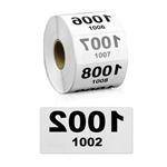 2 x 1 inch Reverse Numbered 1001-2000 Consecutive Numbers Stickers