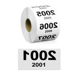 2 x 1 inch Reverse Numbered 2001-3000 Consecutive Numbers Stickers