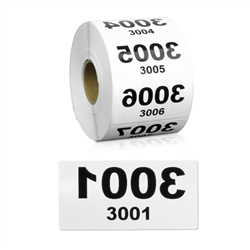 2 x 1 inch Reverse Numbered 3001-4000 Consecutive Numbers Stickers