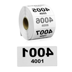 2 x 1 inch Reverse Numbered 4001-5000 Consecutive Numbers Stickers