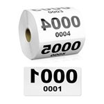 4 x 2 inch Reverse Numbered 0001-1000 Consecutive Numbers Stickers
