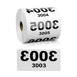 4 x 2 inch Reverse Numbered 3001-4000 Consecutive Numbers Stickers