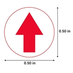 0.5 inch Round This Side Up Arrow Stickers (Red)