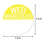 1.5 inch Round Wednesday Stickers - Miercoles Etiquetas (Yellow)