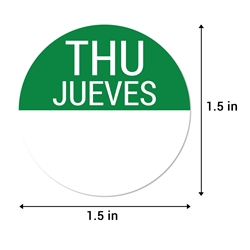 1.5 inch Round Thursday Stickers - Jueves Etiquetas (Green)