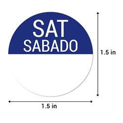 1.5 inch Round Saturday Stickers - Sabado Etiquetas (Dark Blue)