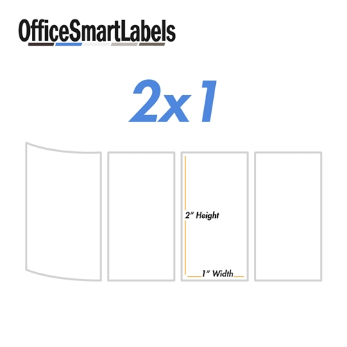 OfficeSmart Labels ZR1214114-2.25 x 1.25 Inch Removable Direct Thermal Labels//Compatible with Zebra Printers 25 Rolls, White, 1000 Labels Per Roll, 1 inch Core