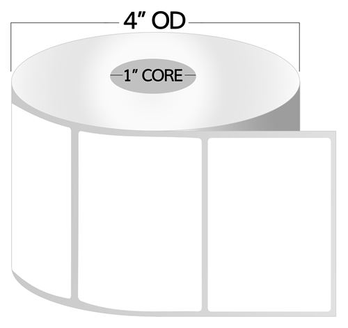 4 x 3 thermal transfer labels permanent adhesive 1 inch core