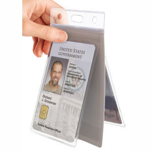 "Brady Vertical Multi-Card Holder, Clear Vinyl, Holds 1 ID Card on One Side and Up to 3 ID Cards or 6 Business Cards on the Back Side, Side Load Slot and Chain Holes, 3-1/2"" x 2 3/16"", Bag Graphic"