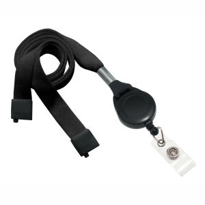 "Brady Navy Blue Flat Tubular Lanyard with Break-away and Slotted Badge Reel with Clear Vinyl Strap, 5/8"" Width, Badge Reel 1-1/4"", Length 36"", Bag of 100, PIECED and SOLD in Full Bags Only Graphic"