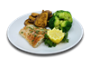 Baked alaskan cod seasoned with paprika and dill served with roasted cinnamon sweet potato and steamed broccoli