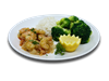 Shrimp, broccoli, basmati rice, onions, peppers, teriyaki sauce, alt and pepper, ginger. 