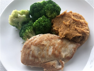 #45 Grilled Chicken with mashed sweet potato and steamed broccoli