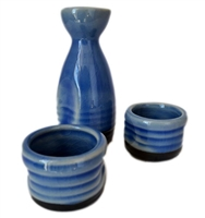 3-pc Japanese Ceramic Saki Rice Wine Set with Wooden Crate, Blue / Beige