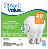 Great Value A17 Compact Fluorescent 9W Bulbs, 2pcs