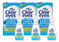 Clear Eyes Eye Drops Triple Action Lubricant 0.5 oz, Pack of 3