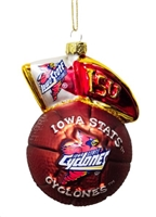 Team Spirit Ornaments - Glass Mascot, Iowa State Cyclones
