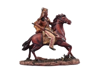 Native Brave on Horse w/ Wooden Spear.