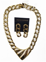 Metal Necklace and Earrings-Golden