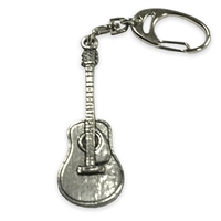 Acoustic Guitar Pewter Keychain