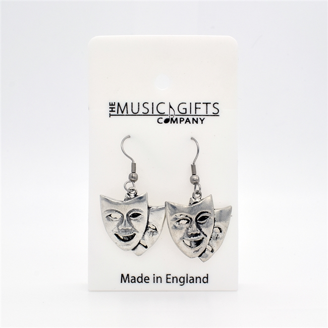 Theatrical Masks Pewter Earrings