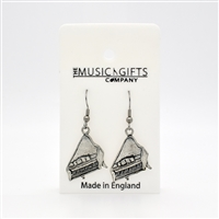 Grand Piano Pewter Earrings