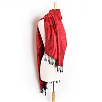 Pashmina Scarf - Red and Black