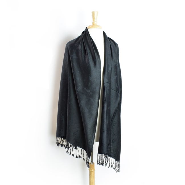 Pashmina Scarf-Black on Black Treble Clef