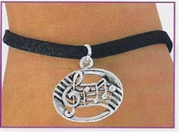 Music Staff on Black Leatherette Bracelet