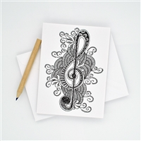 Coloring Treble Clef Notecards with Pencil