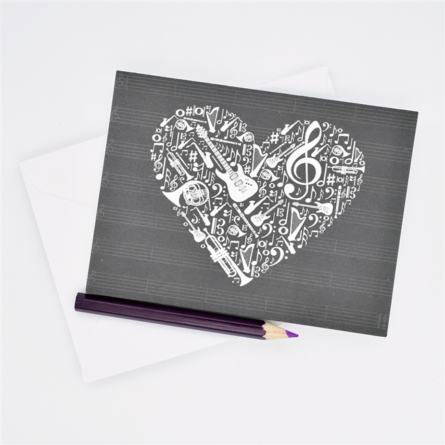 Heart With Instruments Coloring Note Card