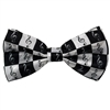Black and White G-Clefs Bow Tie