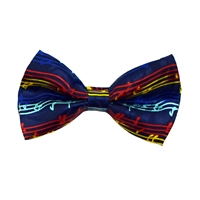 Navy and Music Notes Bow Tie