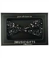 Bow Tie- Silk- Black and White Music Notes
