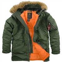 Alpha Slim Fit N-3B Olive Parka