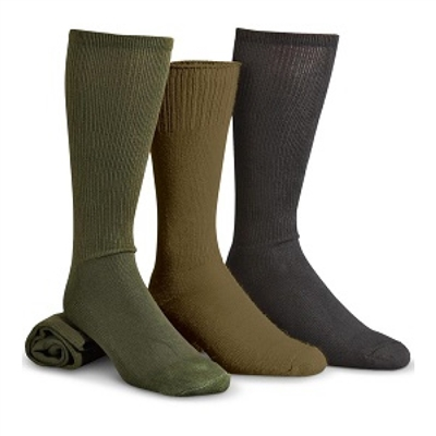 US Military Issue Anti-Microbial Boot Socks - 3pk