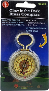 Glow-in-the-Dark Brass Compass