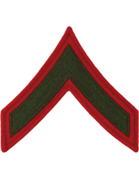 Green/Red Male Chevron Private First Class USMC (Pair)