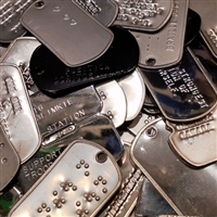MIS-PRINTED SET OF DOG TAGS